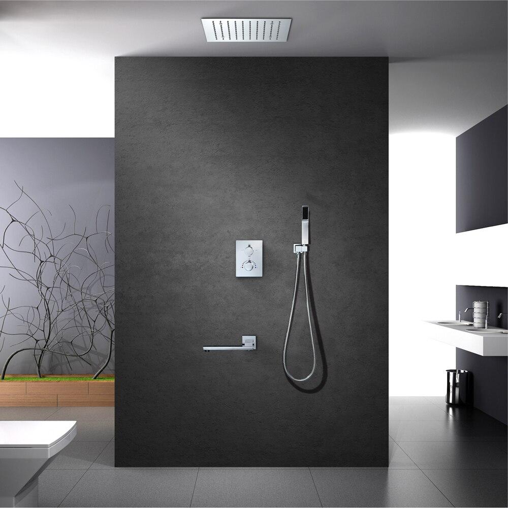 Vasca da bagno Doccia Set LED Soffione doccia In Ottone A Parete Valvola Montato Termostatico Doccia Rubinetto