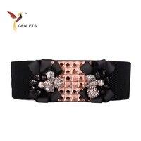 2017 New Winter Dresses Elastic Belt For Women Fashion Design Women Belt Good Quality Rhinestone Waistband