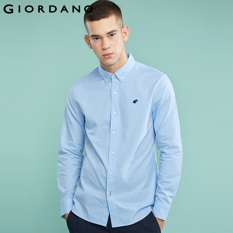 Giordano Men Shirt Men Embroidery Frog Pattern Camisa Masculina Long Sleeve Oxford Shirt Quality Fabric Social Casual Shirts