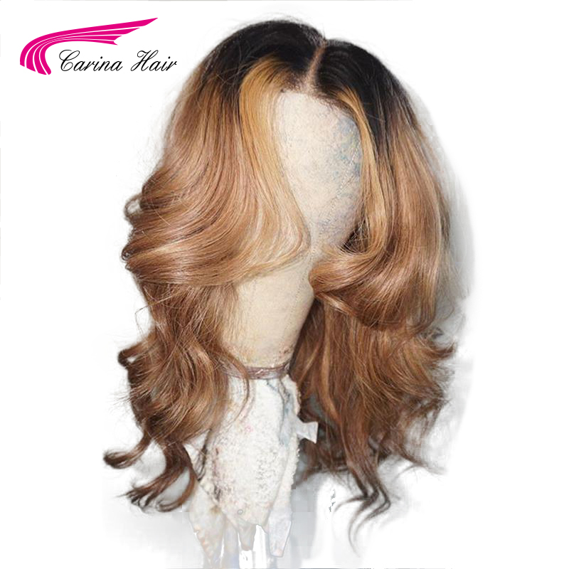 Carina Ombre Lace Front Human Hair Wigs Wavy With Baby Hair Preplucked Brazilian Lace Front Wigs