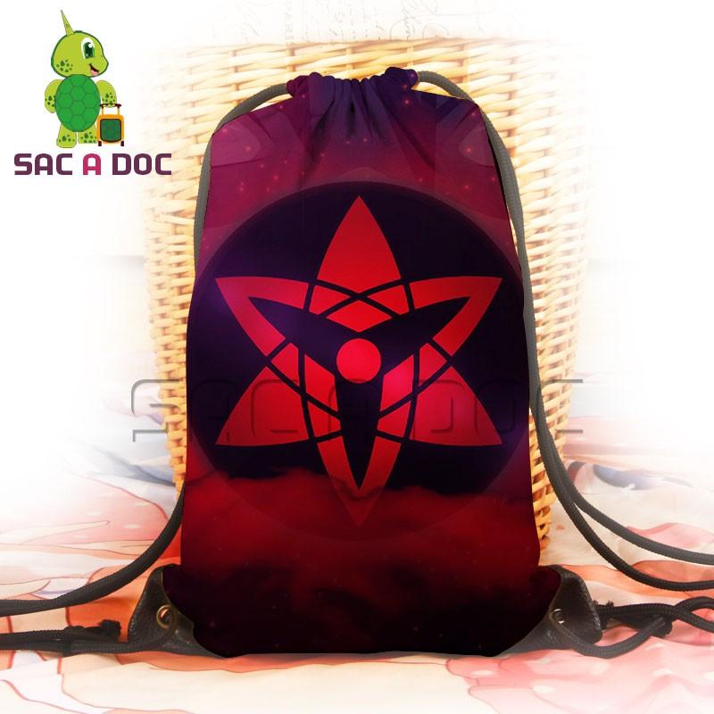 Anime Naruto Travel Shoulder Bags Boys Girls Sasuke Sharingan Printing Drawstring Backpack School Bags Canvas Backpack