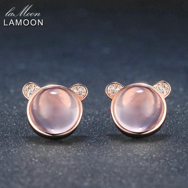 LAMOON Lovely Bear 100 Natural Gemstone Rose Quartz 925 sterling