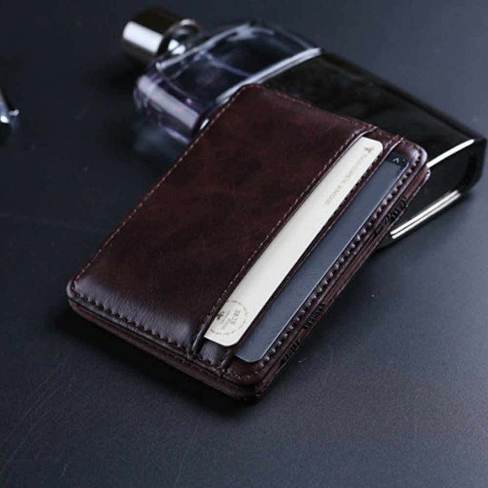 ID Credit Card Holder Men Wallet Small Coin Purse Mini Leather Wallet Male Business Small Wallets Porte Monnaie Homme #DX