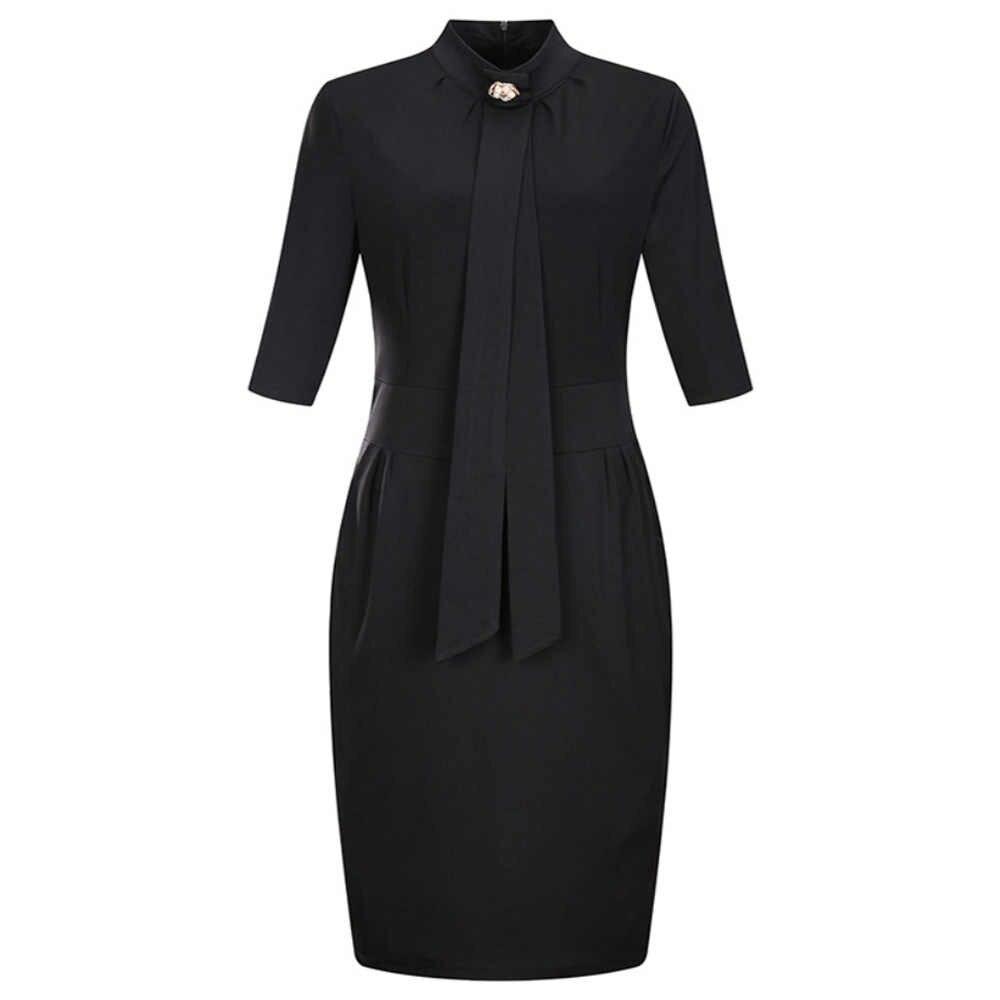 Wisalo женское элегантное облегающее платье большого размера 6XL для работы, 3/4 рукав, водолазка, длина до колена, карман, офисное женское платье, Vestidos