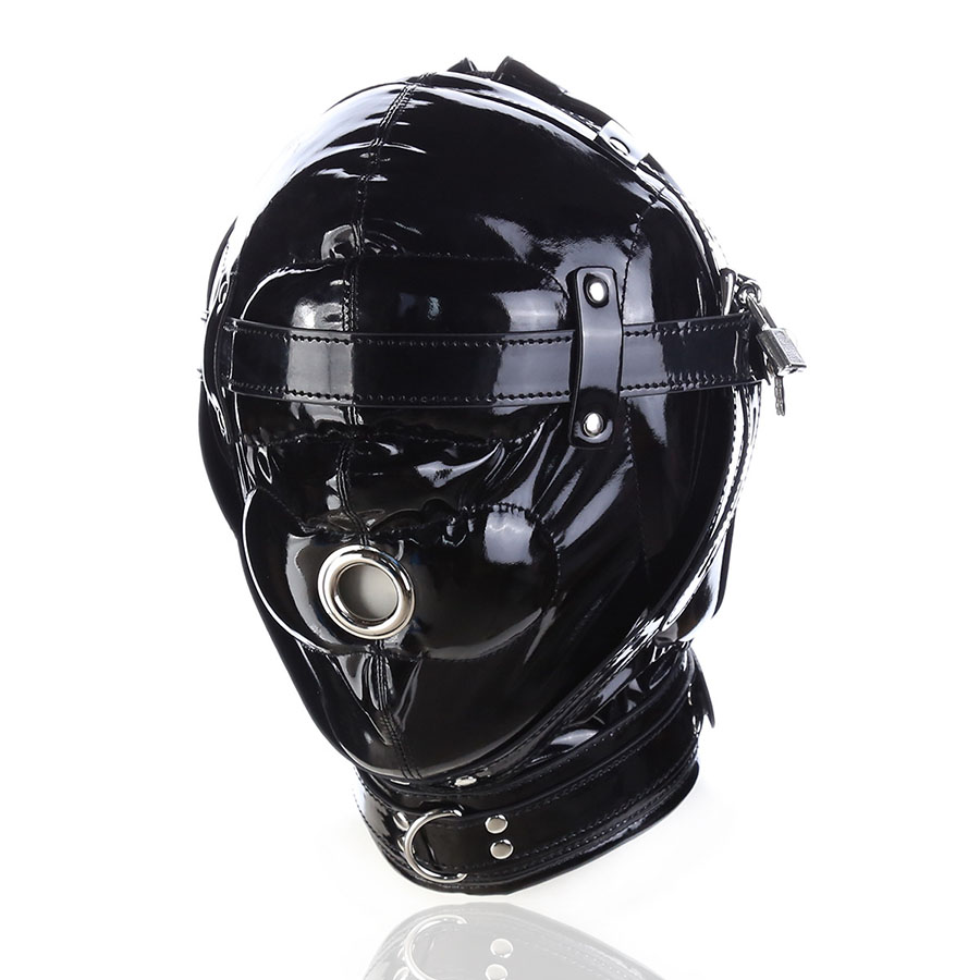 GOTHIC Leather Bondage BDSM Hood Blindfold ,Wetlook Mask With Mouth Hole  ,Cosplay Halloween Accessories,Adult Sex Toys