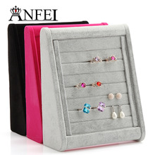 ANFEI Fashion  Jewelry Stand Ring Display Shelf Jewelry Holder Neceser Packaging Ring Holder Jewelry Organizer Rack Black