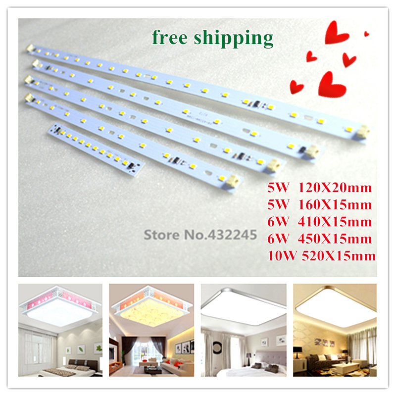 40 pieces 5W 6W 10W Bar Aluminum Plate no need driver LED SMD5730 PCB for Square Ceiling Light. 220V directly. free shipping.