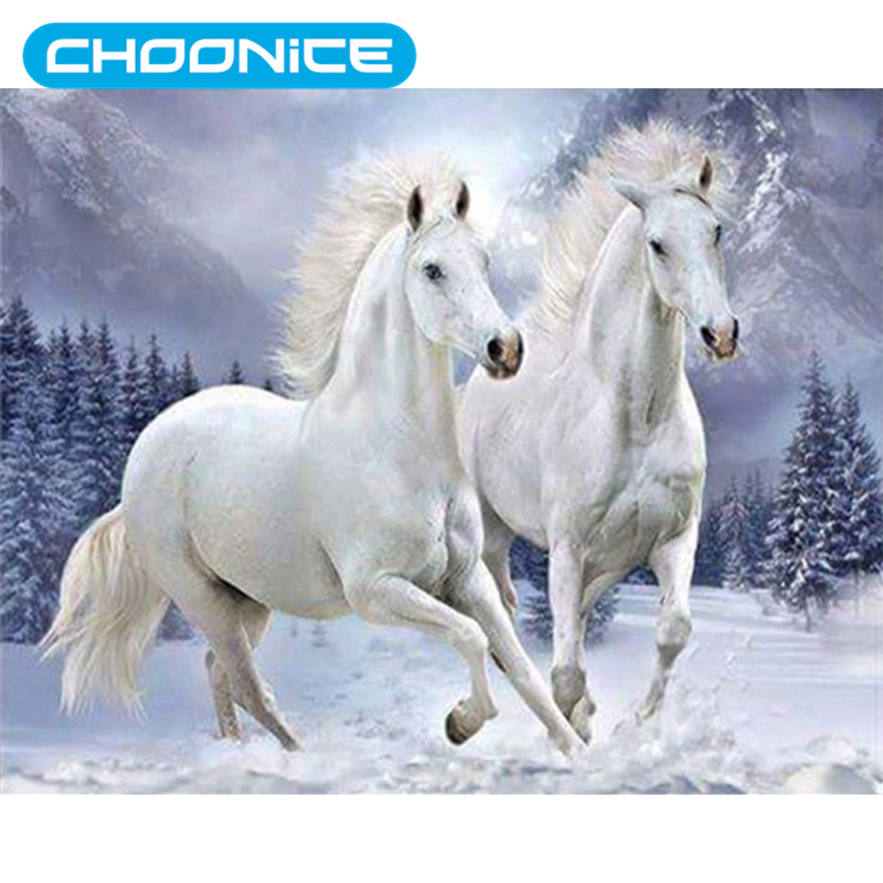3d diy diamond painting snow two white horses diamond - Home interior horse pictures for sale ...