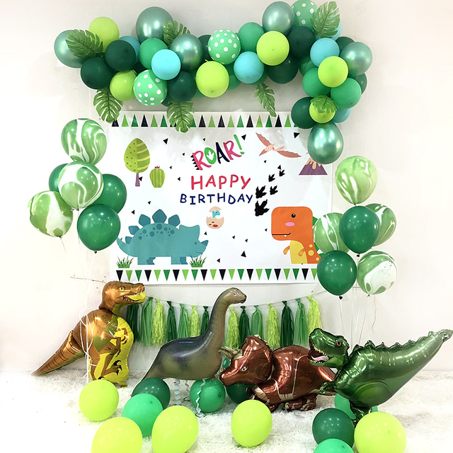 Big Dinosaur Party Theme Green Latex Balloon Walking Safari Balloons Banner Garland For Children Boy Baby Shower Birthday Decor