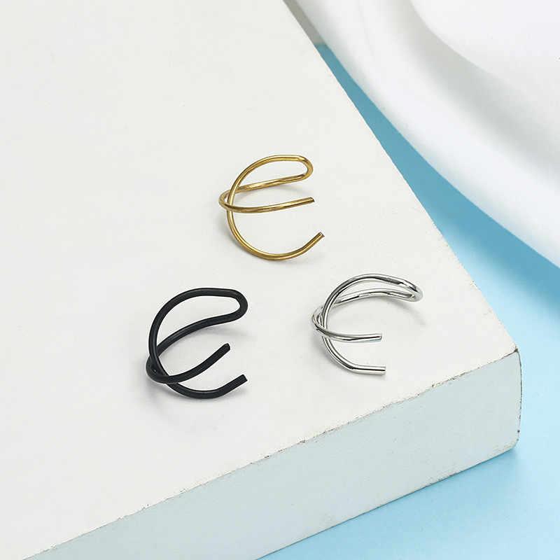 ใหม่ 3 ชิ้น/เซ็ตทองเงินสีดำสีโลหะคลิปหูต่างหูผู้หญิงเครื่องประดับรูปทรงเรขาคณิตง่ายหู Cuff ต่างหู EZ2