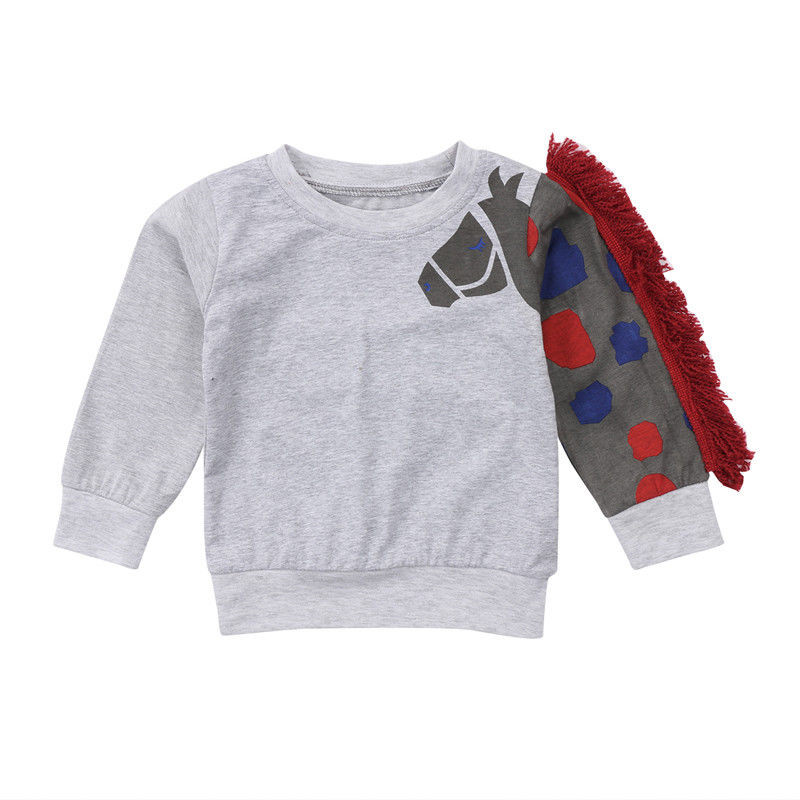 Cute Pullover Tops For Boys Girl 2018 Newest Baby Boy Girl 3D Horse Print T-shirt Kid Warm Hoodie Tops Children Jumper Tracksuit