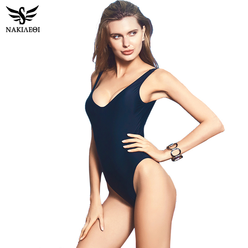 NAKIAEOI Sexy One Piece Swimsuit 2017 Swimwear Women Backless Bodysuit Bathing Suit Swim Summer Beachwear Monokini Swimsuit XL new one piece swimsuit swimwear women sexy beachwear bodysuit monokini deep v neck backless halter top bathing suit
