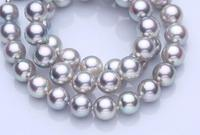 AAA7 8mm natural tahitian silver gray pearl necklace 925silver