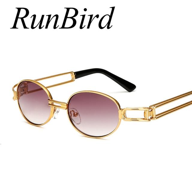 9e0c33c23e57e RunBird Hip Hop Retro Small Round Sunglasses Men Vintage Steampunk  Sunglasses Women Gold Glasses Frame Eyewear Oculo UV400 494R