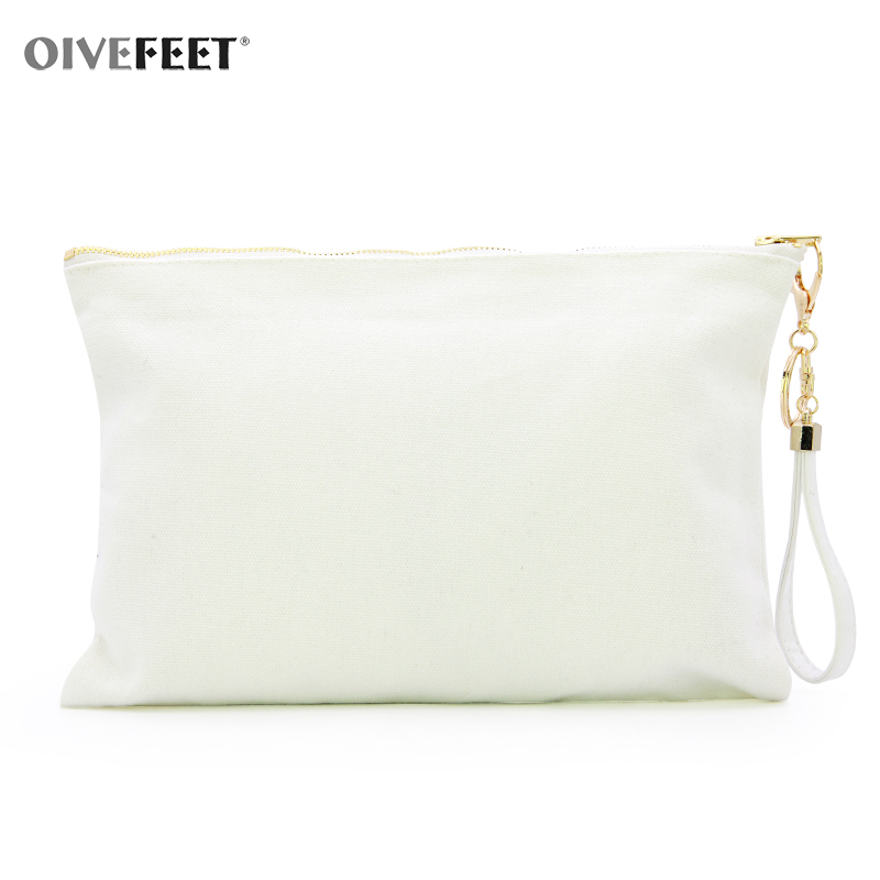 OIVEFEET LGC212,Plain White Cotton Canvas Clutch Handbag PU Chain Tassel 3 colors Cotton Clutch Bag Gold Zipper Makeup Pouch