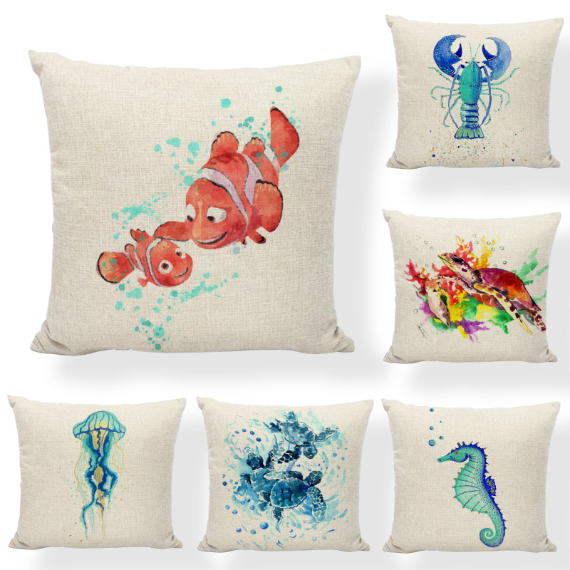 Ocean Series Cushion Cover Watercolor Coastal Octopus