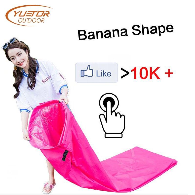 Banana Form Faul Tasche Luft Sofa für Musik Party Schnelle Aufblasbare Laybag Outdoor Camping Tragbare Falten Schlafsack