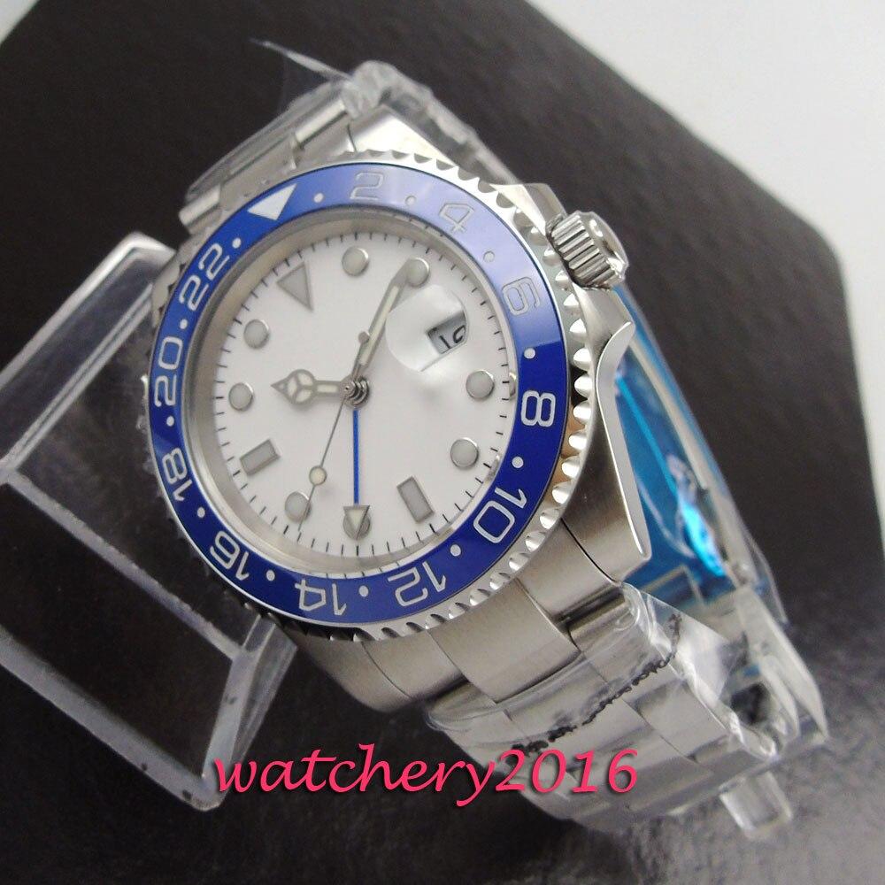 все цены на New 40mm Bliger white dial blue ceramic bezel Luminous Deployment Auto Date sapphire glass GMT automatic Movement Men's watch онлайн