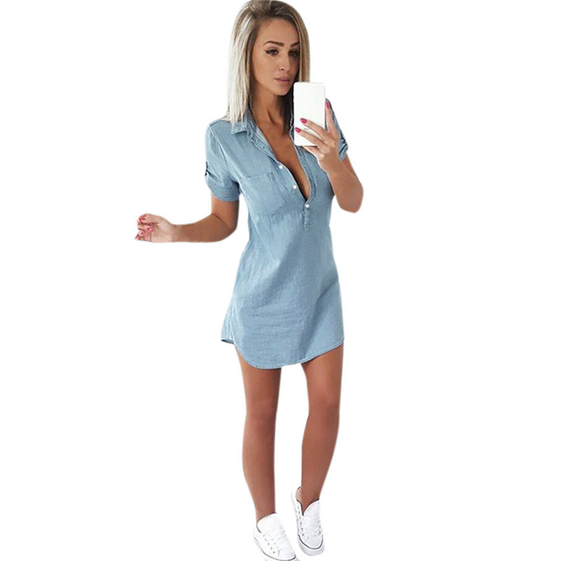 snowshine YLI Women Short Sleeve Dress Solid Denim Dress Turn Down Collar Mini Dress free shipping
