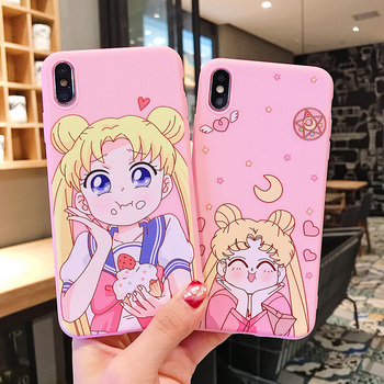 For iphone X Mobile Phone Cover Sailor Moon Kawaii Pink Silicone Phone Case With Lanyard For iphone 6 7 8 XR TPU Soft Cover Case 1