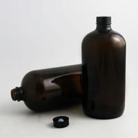 2pcs 1000ml Large Refillable 33 Oz Amber Boston Round Glass Bottles With Black Phenolic Cone Cap