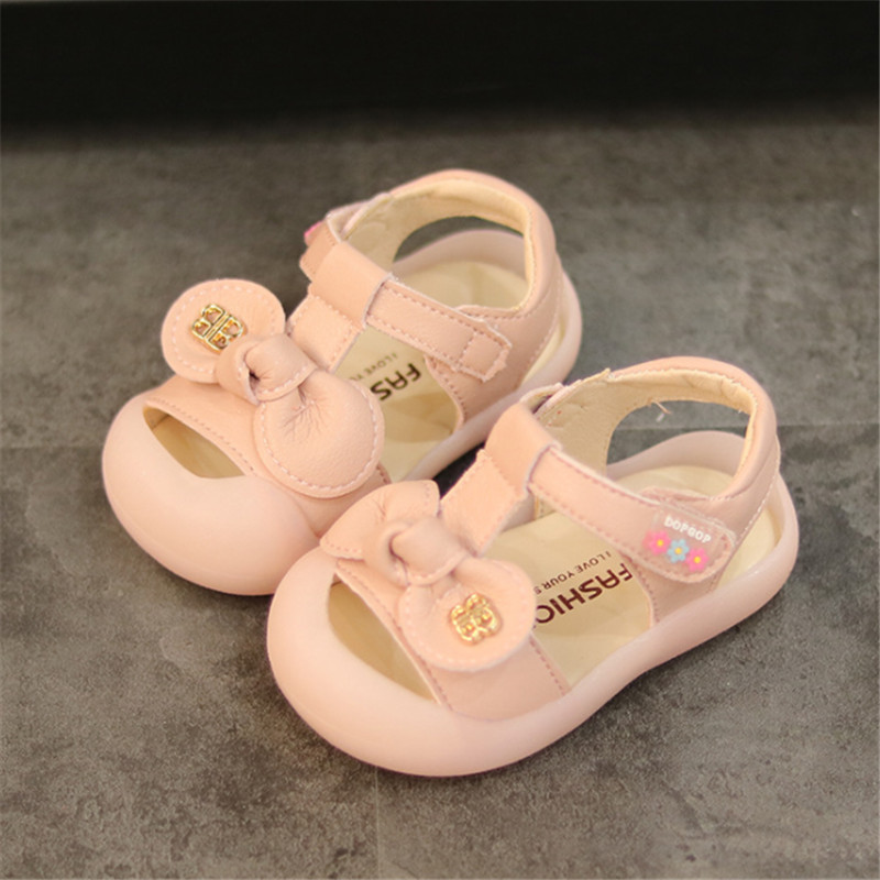 DIMI 2019 New Summer Baby Girls Shoes Cute Bow Girl Toddler Princess Sandals Closed Toe Soft Pu Leather Infant Shoes For Girl