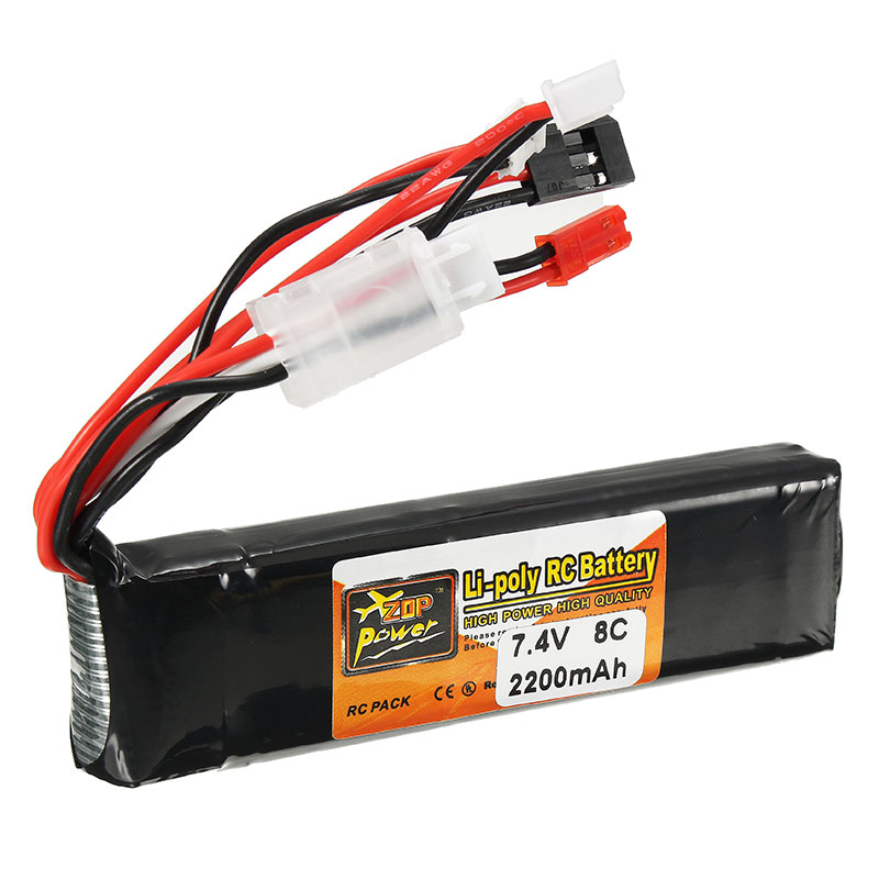 цены ZOP Power 7.4V 2200mAh 8C 2S Lipo Battery JR JST FUBEBA Plug for Transmitter Batteries for RC Helicopter Spare Parts Accessories