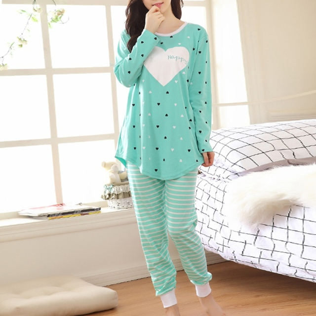 Hot Sale 2016 Women Pajama Sets Autumn Nightwear Long Sleeve O-Neck Cotton Stripe Heart Printed Lovely Sleepwear 3 Colors