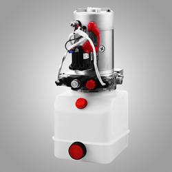 Double Acting Hydraulic Pump 12v Dump Trailer -6 Quart plastic Reservoir for Dump Trailer