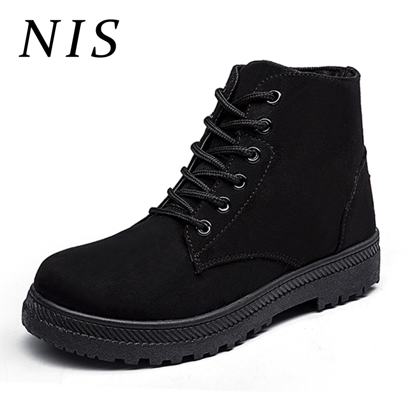 NIS Large Size Faux Suede Ankle Boots Women Shoes Lace Up Autumn Winter Boots For Women Platform Chunky Heel Ladies Shoes Botas zenvbnv men sandals summer hollow out breathable beach shoes 2017 unisex casual outdoor slippers flip flops zapatillas hombre
