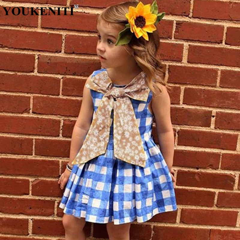 YOUKENITI 2018 New Fashion Plaid Sleeveless A Line Bow O Neck Casual Mini Dress For 2-5T Baby Girls Princess Dress Clothings