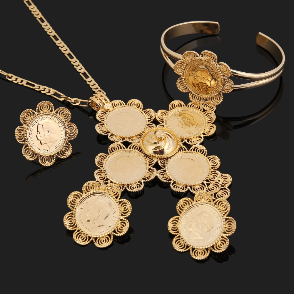 Bangrui Traditional Ethiopian 5pcs Coin Wedding Jewelry Sets Gold Color Jewelry Bridal Romantic Jewelry for Women