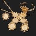 Conjuntos de jóias de casamento tradicional etíope 5 pcs moeda banhado a ouro jóias nupcial jóias romântico para mulheres