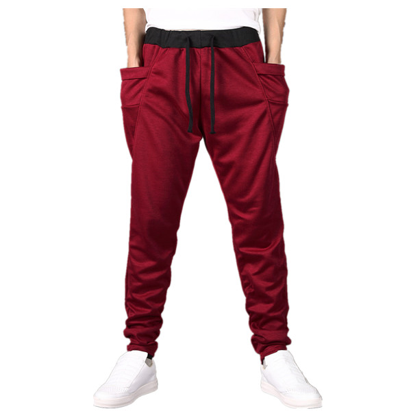 2016 mens new hit color across the waist elastic waist trousers 8 color pants mens trousers and feet sweat pants