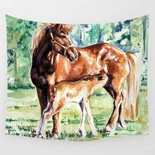 Hot sale fashion cute horse moon lake sunshine pattern wall hanging tapestry home decoration wall tapestry tapiz pared grasses horse pattern waterproof wall art tapestry