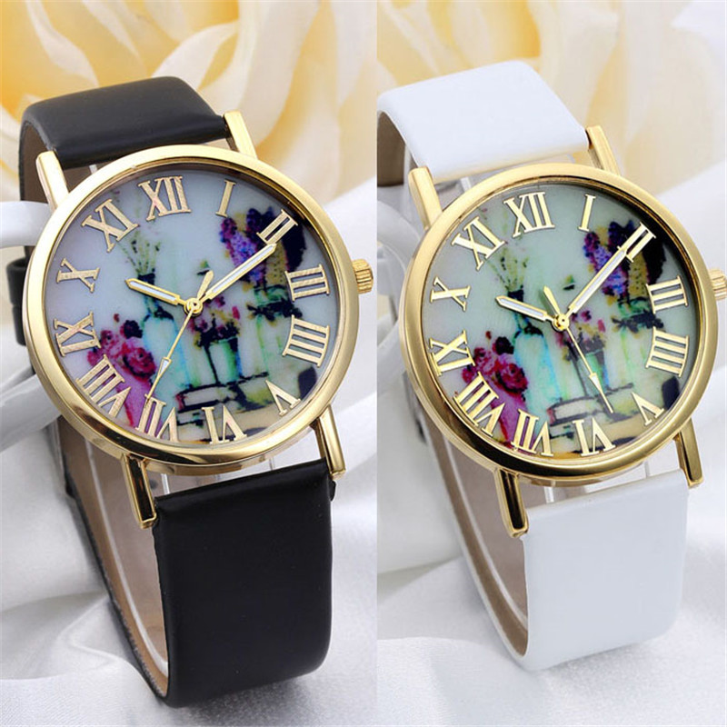 2016 New Brand Fashion Vases Dial Men Dress Quartz Leather Rivets Bracelet Watches Women Crystal Casual Relogio Feminino Watch