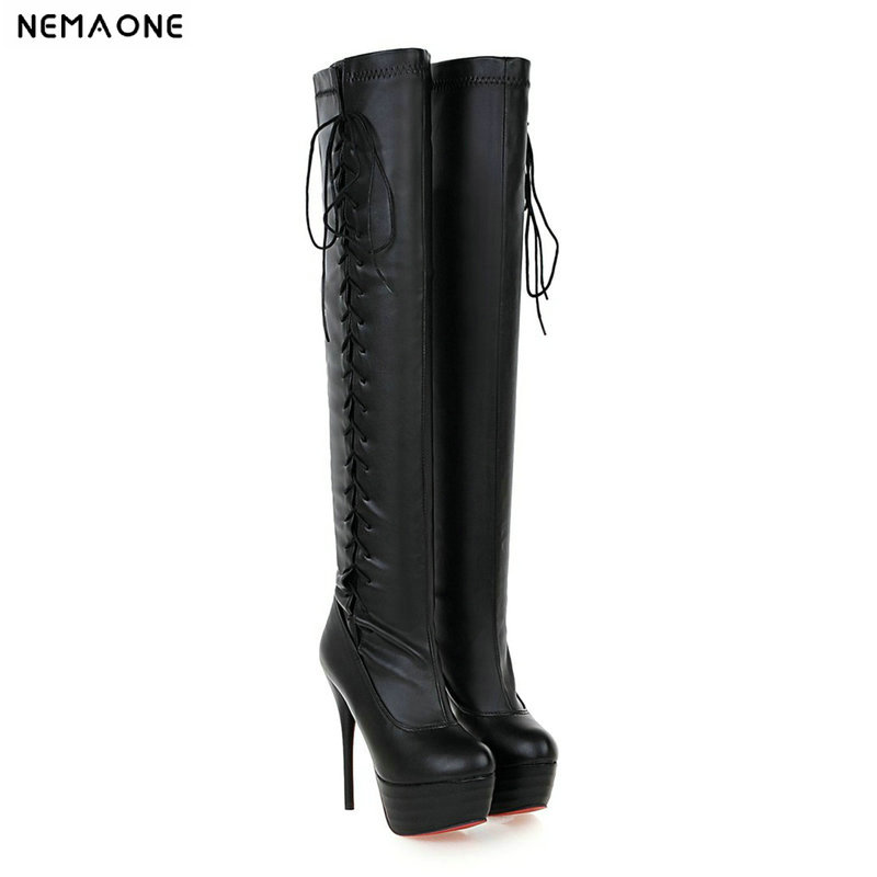 NEMAONE Motorcycle boots Sexy Fetish Shoes Over The Knee Boots 14CM Ultra High Heels Platform Long Boots Women Dance Boots nemaone women knee boots 2017 sexy vintage chunky high heels spring autumn shoes round toe less platform motorcycle boots
