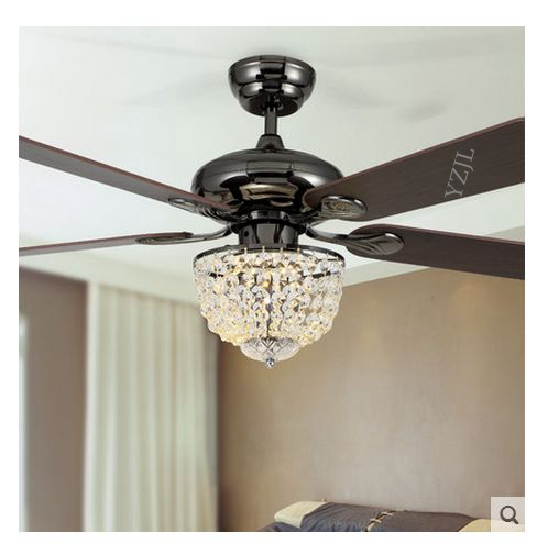 Ceiling Fan With Chandelier Light: 52inch LED Modern Minimalist Restaurant Fashion Crystal