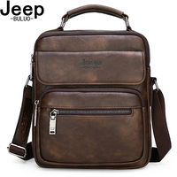 JEEP BULUO Brand Man Split Leather Crossbody Shoulder Messenger Bag For iPad Big Size Men's Handbags Famous Casual Business