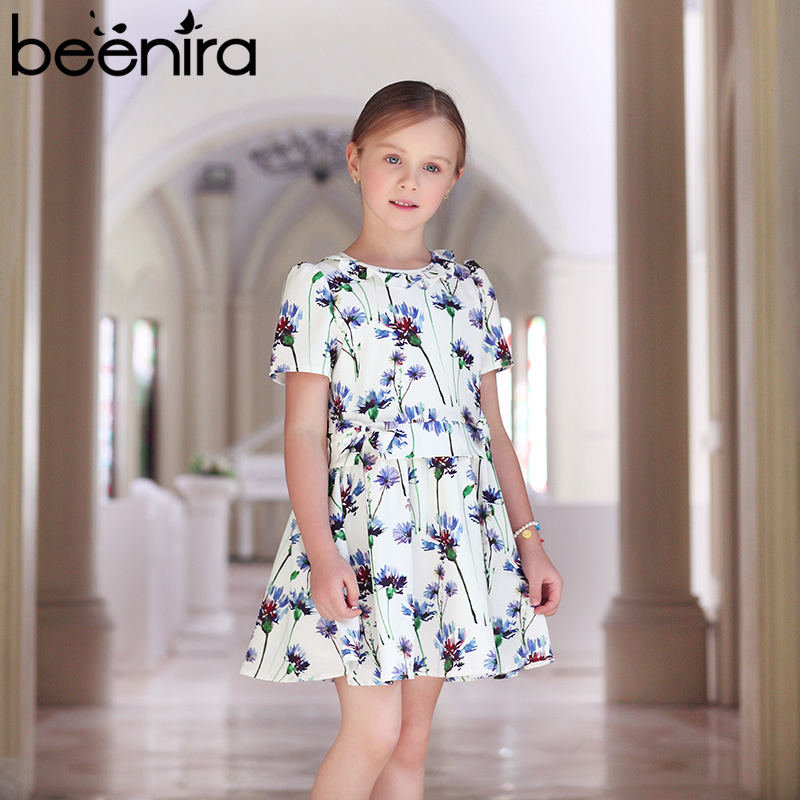 Beenira Girls Clothing Dress 2018 European And American Style Children Short-Sleeve Cute Summer Dress Kids Flore Princess Dress ui b30 rubber bluetooth v3 0 speaker w microphone tf fm for iphone black grey