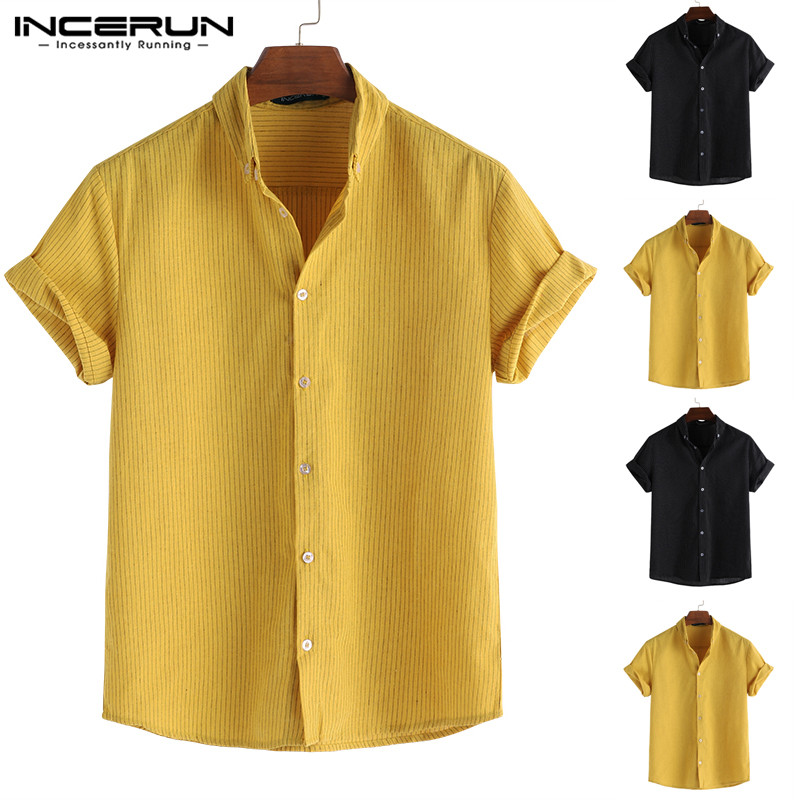 INCERUN Summer Fashion Men Shirt Striped Lapel Neck Loose Breathable Short Sleeve Tops 2020 Business Brand Shirts Men Camisa 5XL