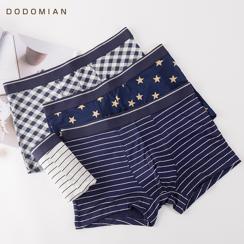 DO DO MIAN 2019 Boxer Underwear 4Pcs\lot Modal Men Boxer Stripe Printed Boxers Underwear Casual Cool Summer Panties