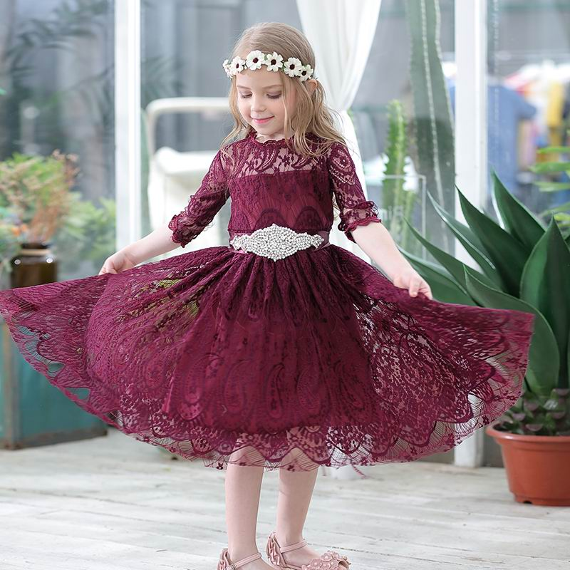 Wholesale Lace Dress for Girls 3 4 Sleeve Princess Dress With Rhinestones Belt Christmas Party Dress