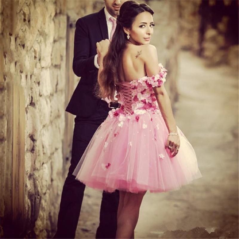 2015 Stunning Rose Flowers Pink short Prom Dresses Off Shoulder Lace ...