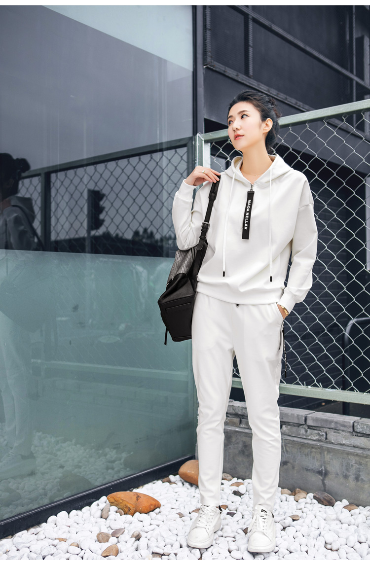 Double puppet suit women casual 17 spring new solid hooded two piece set zipper long sleeve 371009 11