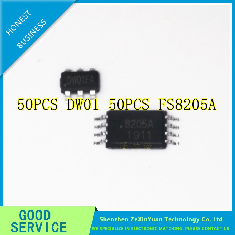 100pcs/lot New ( 50pcs DW01+50pcs FS8205A) DW01+ 8205A Lithium battery protection chip DW01A DW01B 8205100pcs/lot New ( 50pcs DW01+50pcs FS8205A) DW01+ 8205A Lithium battery protection chip DW01A DW01B 8205