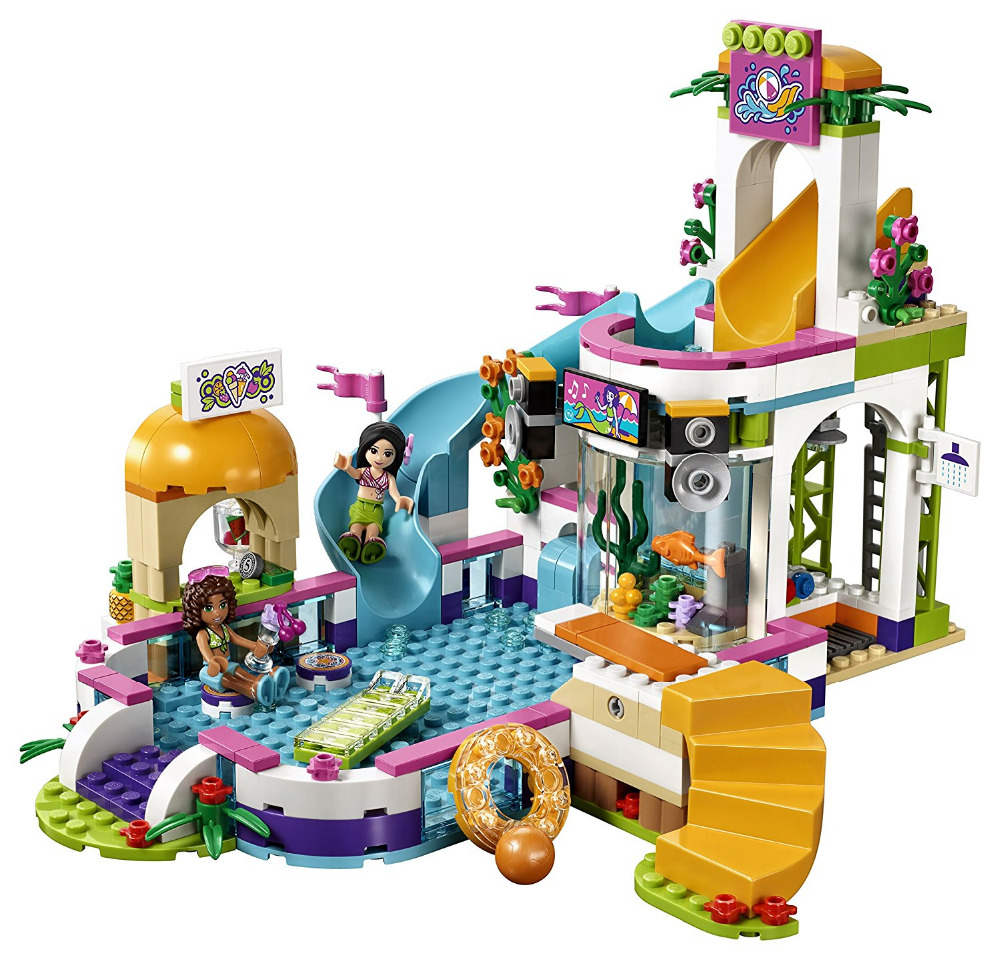 589pcs Lepin 01013 Friends Heart Lake City Summer Swimming Pool Kids Building Blocks Bricks Toys Girl Gift Compatible Legoe
