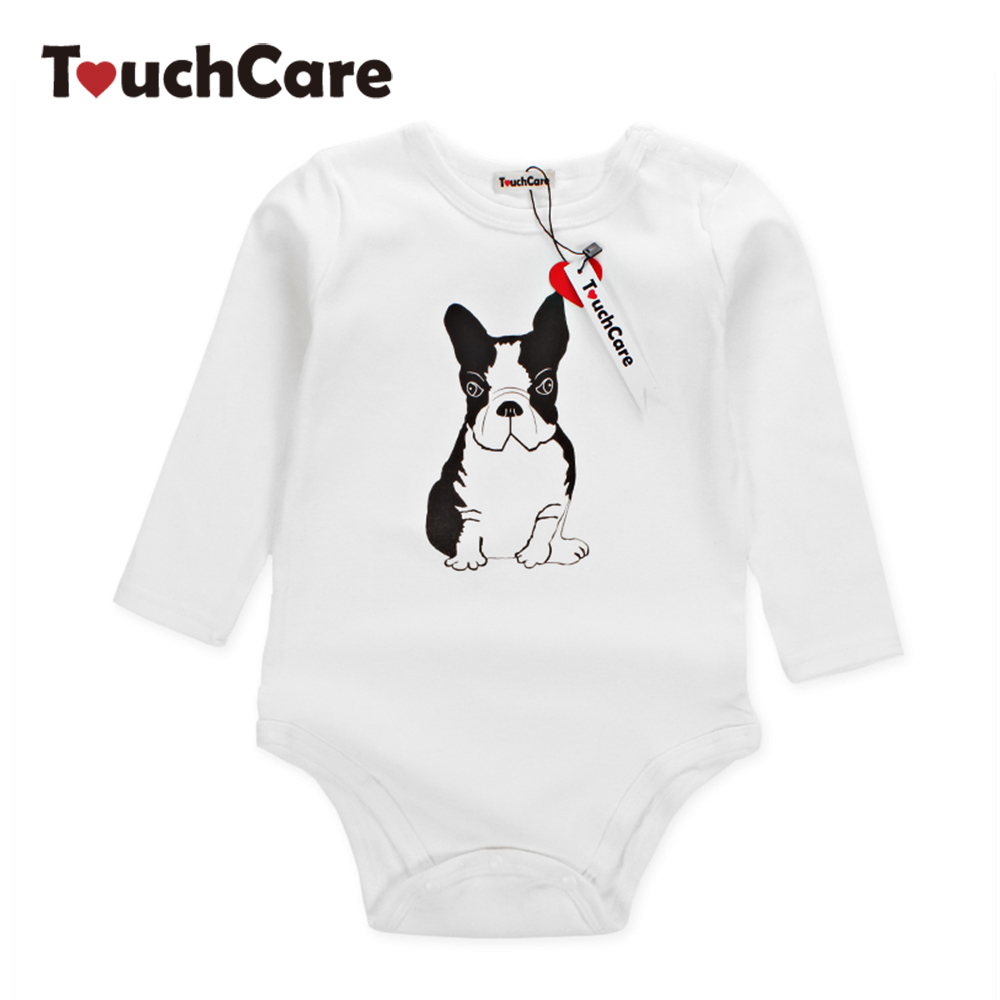 Infant Cute Cartoon Animal Bulldog Printed Baby Boys Girls Rompers Newborn Soft Cotton Kids Jumpsuit Long Sleeve Toddler Clothes newborn baby girls rompers 100% cotton long sleeve angel wings leisure body suit clothing toddler jumpsuit infant boys clothes