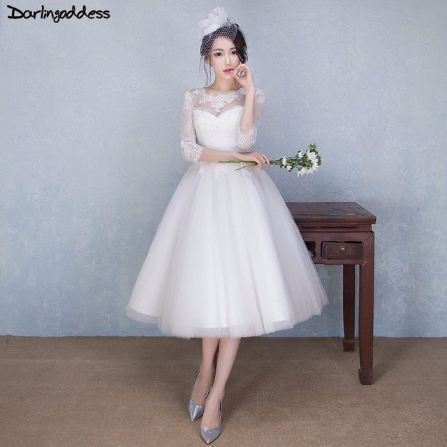 Robe De Mariage White Lace Short Wedding Dresses 2017 Sexy A Line With Sleeve Vintage