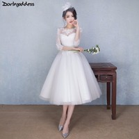 Robe De Mariage White Lace Short Wedding Dresses 2018 Sexy A Line With Sleeve Vintage Wedding Dress Tea Length Vestidos de Novia